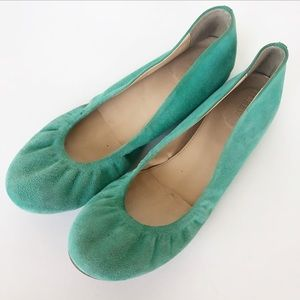 J. Crew green suede leather ballet flats